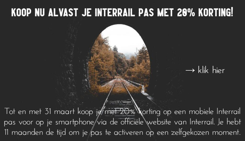 Interrail met 20% korting maart 2021